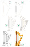 Page shows how to learn step by step to draw stringed musical instrument harp. Stock Photography