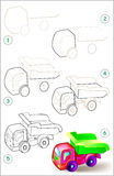 Page shows how to learn step by step to draw a toy tipper truck. Vector image. Developing children skills for drawing and coloring. Scale to any size without Royalty Free Stock Photography