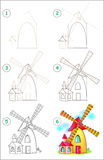 Page shows how to learn step by step to draw a windmill. Developing children skills for drawing and coloring. Stock Photo