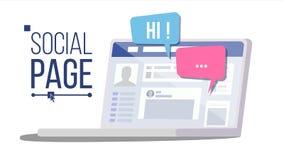 Page sociale sur le vecteur d'ordinateur portable Bulles de la parole Compte social de profil personnel Illustration plate d'isol illustration libre de droits