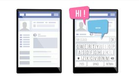Page sociale sur le vecteur de Tablette Bulles de la parole Profil d'application Amitié et contacts d'affaires Appartement d'isol illustration libre de droits