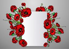 Page template for web and print gray background with red poppy flowers concept. Page template for web and print  gray background with red flowers. Creative stock illustration