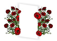Page template for web and print white background with red poppy flowers concept. Page template for web and print  white background with red flowers. Creative royalty free illustration