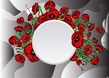 Page template for web and print with white gray sliced background and with poppy. Page template for web and print with white gray sliced background and floral royalty free illustration