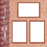 Page for three photo with a lace. Page for three photo on the abstract background with a lace Royalty Free Stock Image