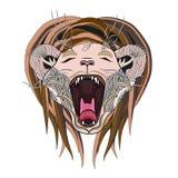 Page tirée par la main de lion Lion de zentangle d'hurlement Images stock