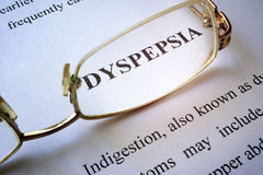 Page with title dyspepsia. royalty free stock images