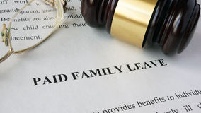 Page with title Paid family leave. Royalty Free Stock Photo