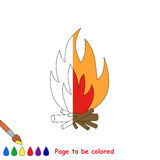 Page to be colored. Bonfire to be colored, the coloring book to educate preschool kids with easy kid educational gaming and primary education of simple game Stock Images
