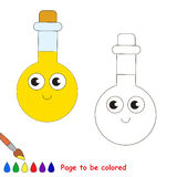 Page to be colored, simple education game for kids. Funny Beautiful Tube Vial with yellow liquid to be colored, the coloring book for preschool kids with easy Stock Images