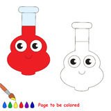 Page to be colored, simple education game for kids. Funny Vial Tube with Red Liquid to be colored, the coloring book for preschool kids with easy educational Stock Image
