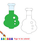 Page to be colored, simple education game for kids. Green Lab Vial Tube to be colored, the coloring book for preschool kids with easy educational gaming level Stock Images