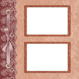 Page for two photo with a lace. Stock Image