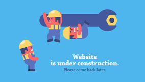 Page under construction animation. Funny cartoon workers repairing website using huge spanner. Looped animation. Prerendered composition and workers on stock footage
