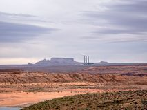 Scenic view of Salt River Project Navajo Generating Station early morning near Page Arizona. PAGE, USA - APRIL 17, 2019: Scenic view of Salt River Project Navajo stock photo