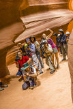 Photographers shooting of the upper Antelope Canyon Royalty Free Stock Image