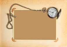 Page with vintage clock with chain. Retro album page with vintage clock with chain Stock Images