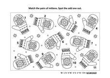 Page visuelle de puzzle et de coloration de logique avec les mitaines tricotées illustration libre de droits