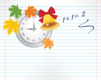 Page with watch, maple leaves and school bell Stock Photo