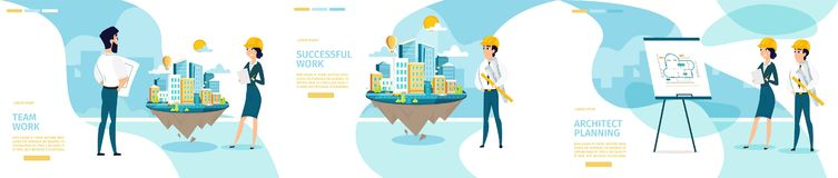 Page Web de rouleau de Company Vector Horizontal d'architecte illustration stock