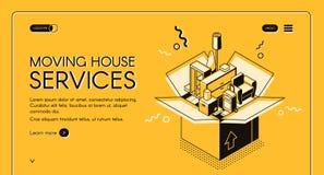 Page Web isométrique de démarrage de vecteur de service mobile illustration stock