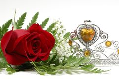 Pageant. Photo of a Red Rose and Tiara Crown - Beauty Pageant Concept Stock Image