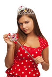 The pageant queen. With crown and sceptre Royalty Free Stock Photos
