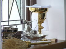 Pageantry. Picture of mess kit is taken in Catholic church in Kaunas city, Lithuania stock photography