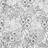 Pages for adult coloring book. Hand drawn artistic ethnic ornamental patterned floral frame in doodle. Royalty Free Stock Images
