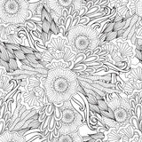 Pages for adult coloring book. Hand drawn artistic ethnic ornamental patterned floral frame in doodle. Stock Images