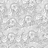 Pages for adult coloring book. Hand drawn artistic ethnic ornamental patterned floral frame in doodle. Royalty Free Stock Photo