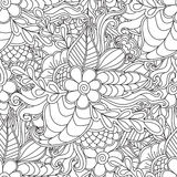 Pages for adult coloring book. Hand drawn artistic ethnic ornamental patterned floral frame in doodle. Hand drawn artistic ethnic ornamental patterned floral Stock Image
