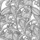 Pages for adult coloring book. Hand drawn artistic ethnic ornamental patterned floral frame in doodle. Stock Photo