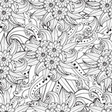 Pages for adult coloring book. Hand drawn artistic ethnic ornamental patterned floral frame in doodle. Royalty Free Stock Photos