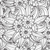 Pages for adult coloring book. Hand drawn artistic ethnic ornamental patterned floral frame in doodle. Stock Image