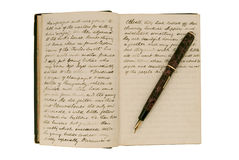 Pages in an antique travel diary Stock Photo