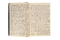 Pages in an antique travel diary Royalty Free Stock Image