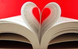 Pages of a book. Curved into a heart shape Royalty Free Stock Image