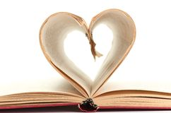 Pages of a book curved into  heart Royalty Free Stock Photography