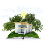 On the pages of an book is grass, trees and house Royalty Free Stock Photography