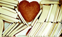 My heart for books. Pages, books, diaries, all on paper sheets royalty free stock photos