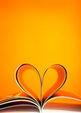 Pages curved into a heart shape Stock Photo
