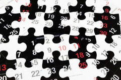 Pages de calendrier et puzzles denteux Photo libre de droits