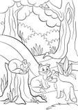 Pages de coloration Animaux sauvages Petit renard mignon du bébé trois Photographie stock