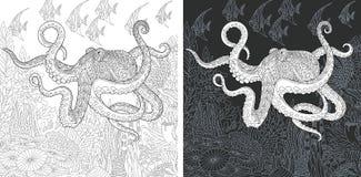 Pages de coloration avec le poulpe illustration stock