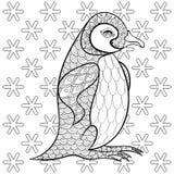 Pages de coloration avec le Roi Penguin parmi des flocons de neige, défectuosité de zentangle illustration libre de droits