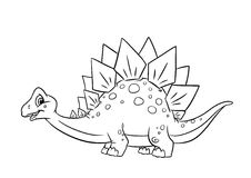 Pages de coloration de Stegosaurus de dinosaure Photo stock