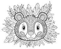 Pages de coloration Livre de coloriage pour des adultes Beau calibre avec l'illustration Éducation d'école Panda et plantes tropi illustration stock