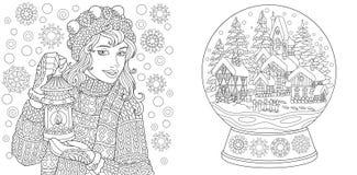 Pages de coloration Livre de coloriage pour des adultes Images de coloration avec la fille d'hiver et la boule en cristal de neig