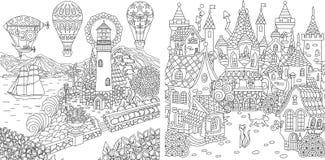 Pages de coloration Livre de coloriage pour des adultes Images de coloration avec le phare et le château de conte de fées Croquis illustration libre de droits